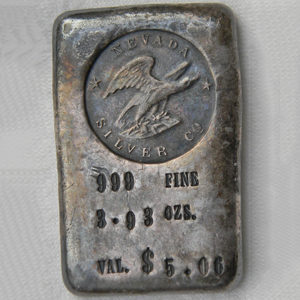 Vintage NEVADA SILVER Co silver ingot 3.93 OZS old poured bar RARE
