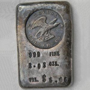 Vintage NEVADA SILVER Co silver ingot 3.93 OZS old poured bar RARE