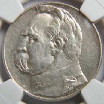 PPoland 1938 silver Pilsudski 5 zlotych NGC AU