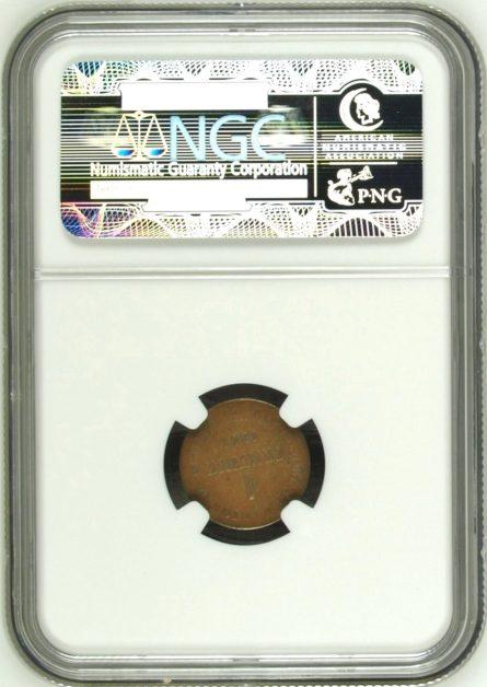 Geneva 1847 copper Centime, NGC AU58 Brown