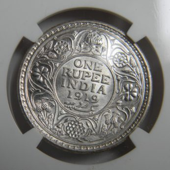 India 1919C silver Rupee, Calcutta mint