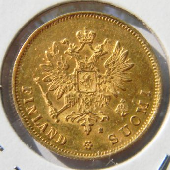 Finland Russian Empire gold 1881 10 Markkaa AU RARE