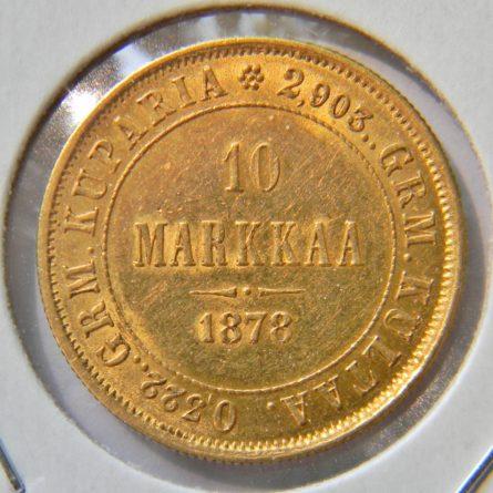 Finland Russian Empire gold 1878 Markkaa XF