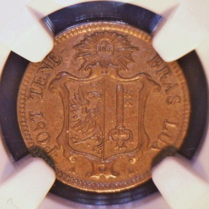 Geneva 1847 copper Centime, NGC AU58 Brown