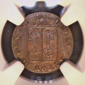GENEVA, Swiss Cantons-1833 silver Un Sol