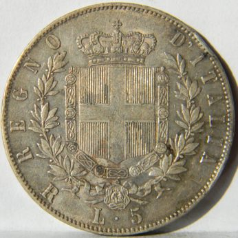 Italy-large 1876R silver 5 Lire
