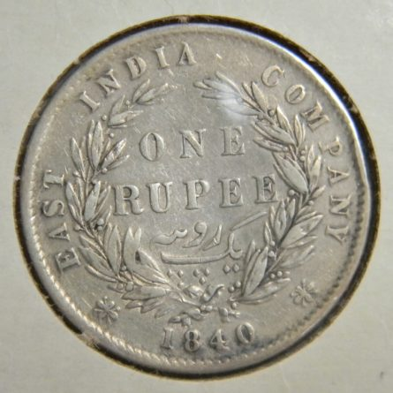 British East India Company 1840 silver Rupee VF
