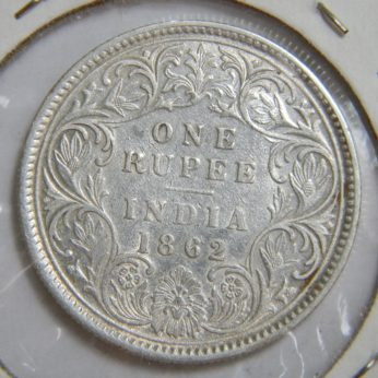 British INDIA Victoria 1862 silver Rupee