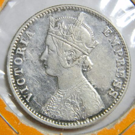 British India -Victorian era 1901 silver Rupee-last year; XF
