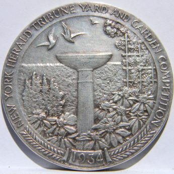"Rare 1934 New York Herald Tribune ""Yard & Garden Competition"" large silver medal"