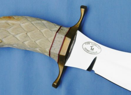 Tom Morlan large Hunting Bowie, carved tusk eagle handle