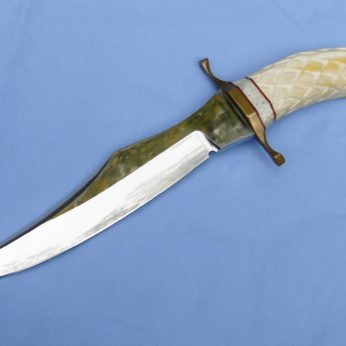 Tom Morlan custom Bowie carved boar tusk eagle head handle