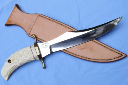 Tom Morlan large custom Hunting Bowie & sheath, John Alward carved handle