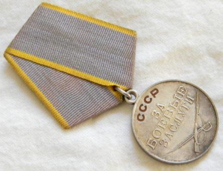 USSR Russia CCCP-original 1940th-1950th silver Battle Merit nedal