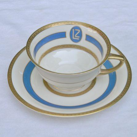 1928 GRAF ZEPPELIN airship porcelain tea cup saucer Heinrich Co