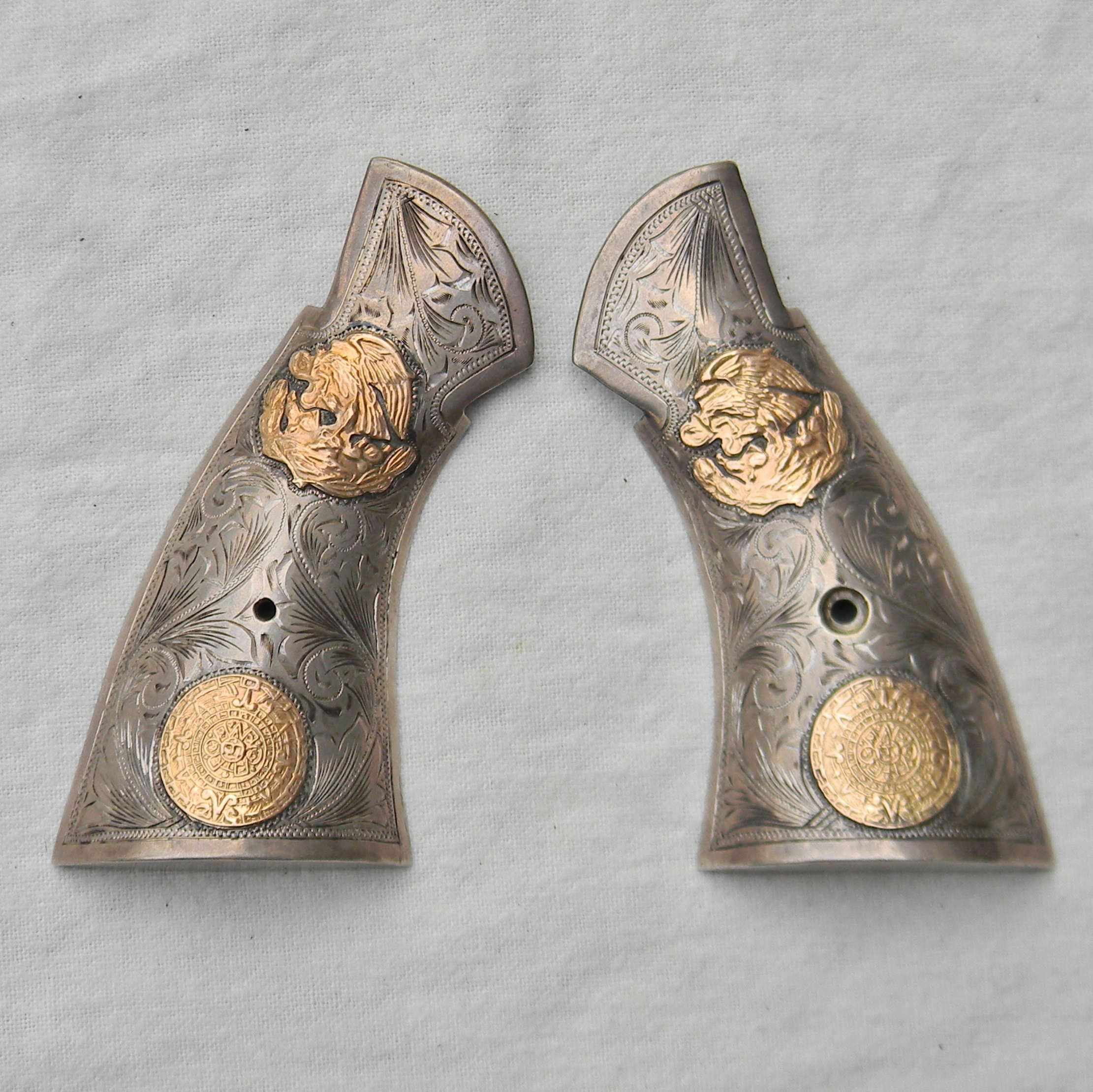 Smith Wesson revolver custom grips engraved silver gold inlays ...