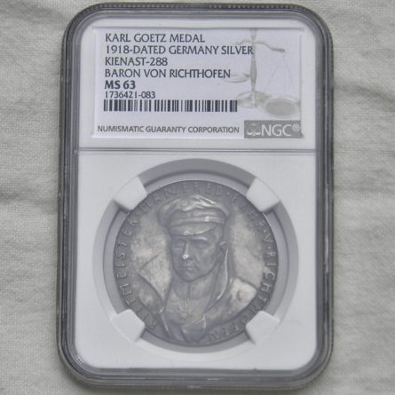 Germany KARL GOETZ 1918 Manfred Richthofen Red Baron silver medal