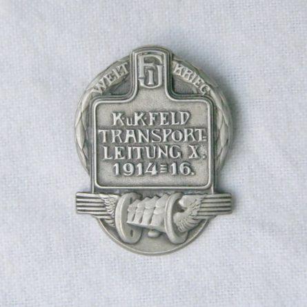 WW1 AUSTRIA 5th Armoured Train cap badge Feld Transport Leitung V pin