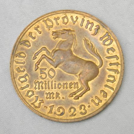 Germany Westphalia gilt bronze 1923 50 Million Marks notgeld coin