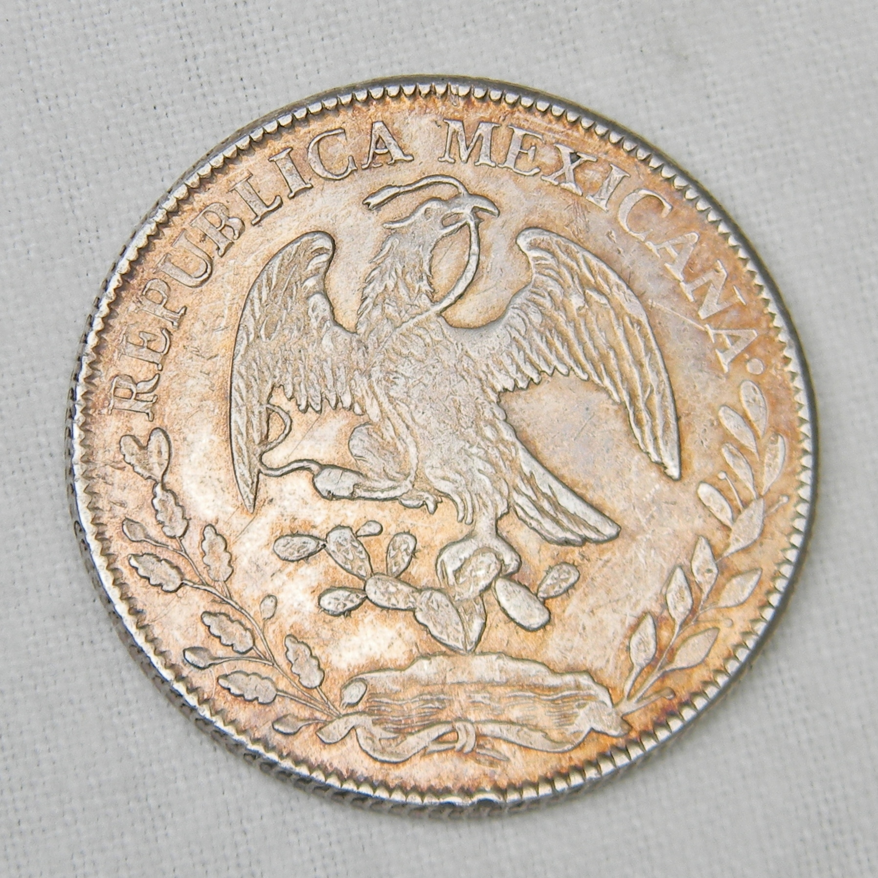 MEXICO Large 1845Zs OM Silver 8 Reales Coin