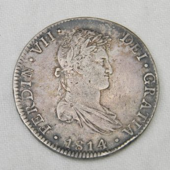 Mexico 1814Mo JJ silver 8 Reales coin Mexico City mint