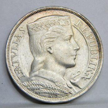 LATVIA silver 1932 5 Lati