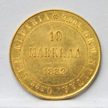 Finland 1882 gold 10 Markkaa