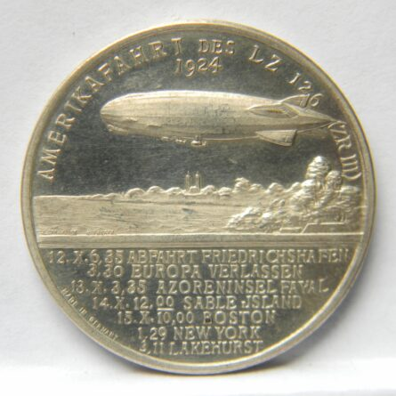 GERMANY airship LZ126 1924 silver medal