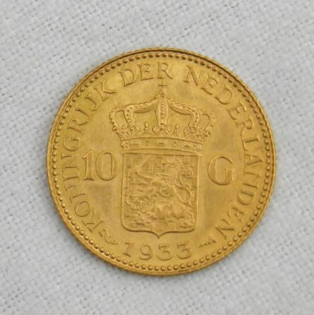 Netherlands 1933 gold 10 Gulden