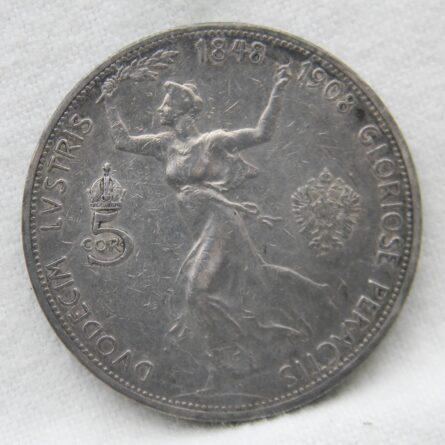 Austria 1908 silver 5 Corona XF