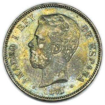 Spain 1871 silver 5 Pesetas