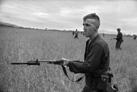 M6 bayonet; a-young-marine-goes-into-battle-vietnam-1965-photograph-by-eddie-adams