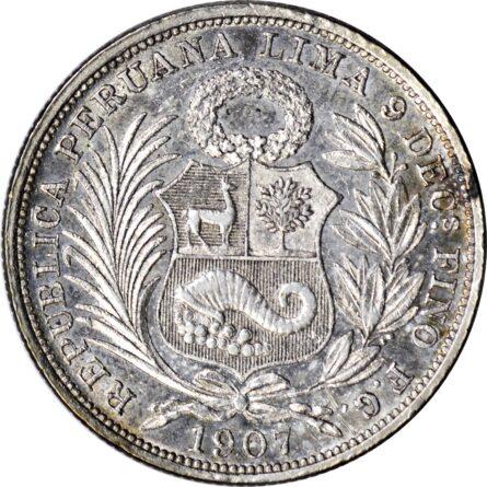 Peru 1907 silver Half-Sol