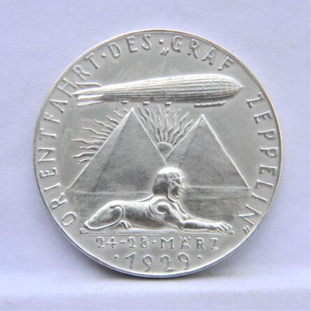 Germany Karl Goetz 1929 Graf Zeppelin airship silver medal
