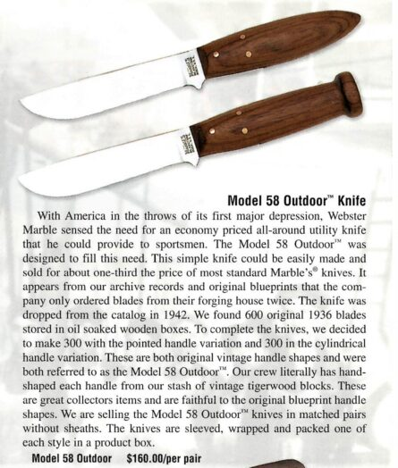 Marbles 2001 ad for Model 58 Outdoor knives